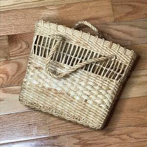Vtg Woven Natural Fiber Structured Handbag Purse